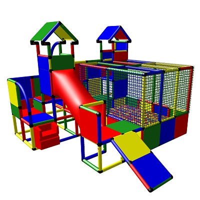 Moveandstic Mia - Play Structure with Ball Pool, 2 Towers and Toddler Slide