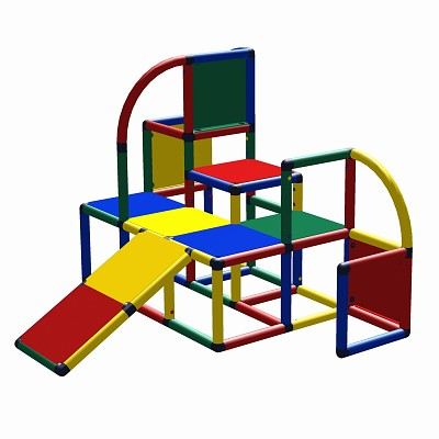 Moveandstic Nora - climbing platform with slide for toddlers, RED GREEN BLUE YELLOW