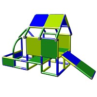 Playhouse for toddlers with entrance and baby slide side view