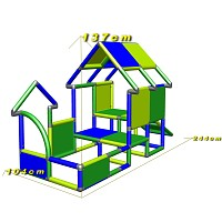 Playhouse for toddlers with entrance and baby slide dimensions