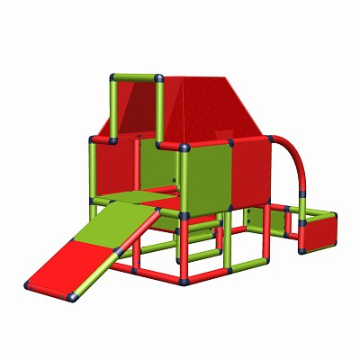 Moveandstic Fabian - play house with roof and toddlers slide red-apple green
