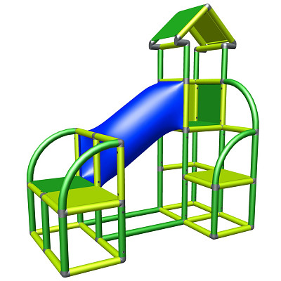 Moveandstic Felix - play tower with crawling cave and exit in apple-green