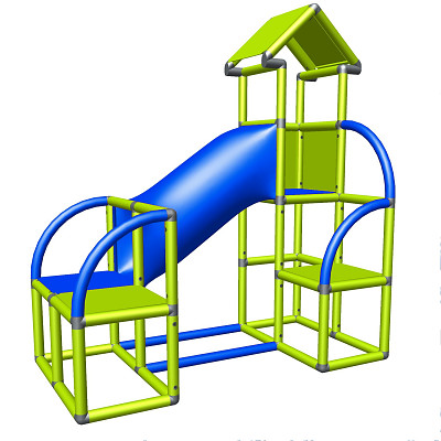 Moveandstic Felix - Climbing Tower with Crawling Tube and Exit in green/red