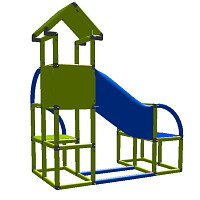 Felix - Climbing Tower with Crawling Tube and Exit in green/red