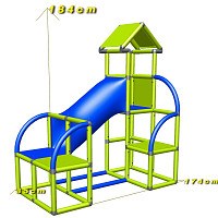 Felix - Climbing Tower with Crawling Tube and Exit in green/red dimensions