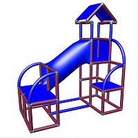 Moveandstic Felix - Climbing Tower with Crawling Tube and Exit in magenta/blue