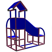 Felix - Climbing Tower with Crawling Tube and Exit in magenta/blue