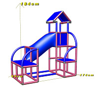 Felix - Climbing Tower with Crawling Tube and Exit in magenta/blue dimensions