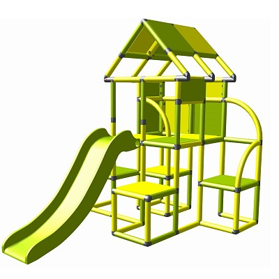 Moveandstic - Lina play tower with slide yellow - apple-green