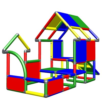 Moveandstic toddlers play house with slide multicolor