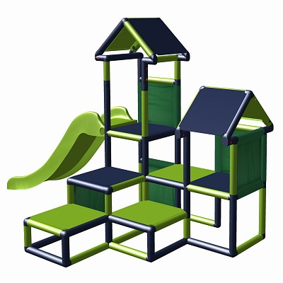 Play tower Gesa - Climbing tower for toddlers with slide and fabric inserts,  apple-green - titanium-grey