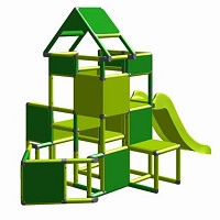 Lisa - Climbing Tower with Slide and Attachment, green