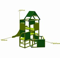 Lisa - Climbing Tower with Slide and Attachment, green Maße