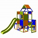 Moveandstic Lisa - Climbing Tower with Slide and Attachment, orange/blue/green