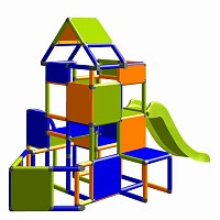 Lisa - Climbing Tower with Slide and Attachment, orange/blue/green
