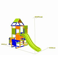 Lisa - Climbing Tower with Slide and Attachment, orange/blue/green dimensions