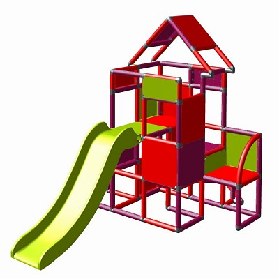 Moveandstic Lisa - climbing tower with slide and attachment, magenta/red