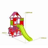 Lisa - Climbing Tower with Slide and Attachment, magenta/red dimensions