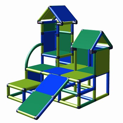Play tower Luise with toddler slide in blue, green and apple green