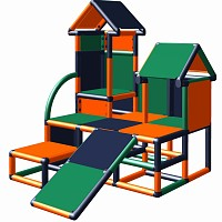 Moveandstic climbing tower Luise in color combination  orange - titanium-grey - green