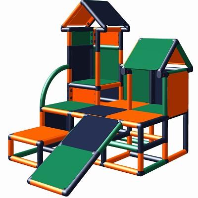 Moveandstic climbing tower Luise in color combination  orange - titanium-grey - green