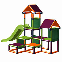 Play tower Gesa - Climbing tower for toddlers with slide and fabric inserts, apple-green/ orange/ magenta