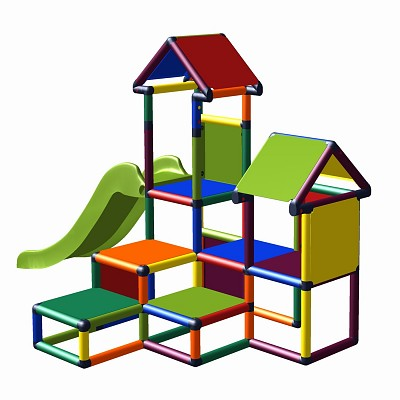 Moveandstic Gesa - Climbing Tower for Toddlers with Slide and Fabric Inserts, multicolor