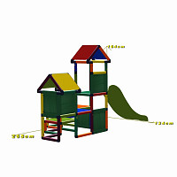 Gesa - Climbing Tower for Toddlers with Slide and Fabric Inserts, multicolor dimensions