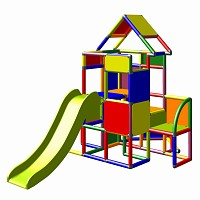 Moveandstic - Climbing Tower with Slide and Attachment, multicolor