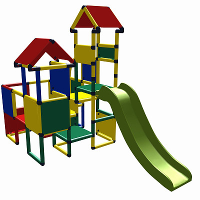 Moveandstic Moritz - play castle with slide - colorfull