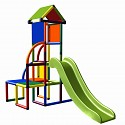 Moveandstic Toni climbing tower with slide and roof multicolor