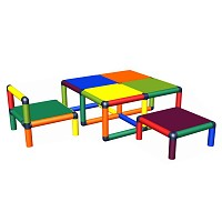 Moveandstic seat group for toddlers Vanny - table, chair and stool multicolor