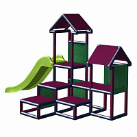 Play tower - Gesa - Climbing tower for toddlers with slide and fabric inserts magenta/ grey