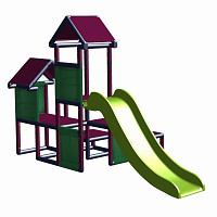 Gesa - Climbing Tower for Toddlers with Slide and Fabric Inserts, green/gray
