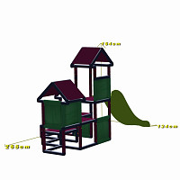 Gesa - Climbing Tower for Toddlers with Slide and Fabric Inserts, green/gray dimensions